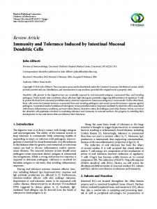 Immunity and Tolerance Induced by Intestinal Mucosal Dendritic Cells