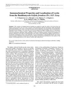 Immunochemical Properties and Localization of Lectin ... - Springer Link