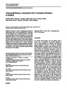 Immunodeficiency Associated with a Nonsense ... - Springer Link