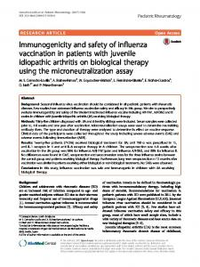 Immunogenicity and safety of influenza vaccination in patients with ...