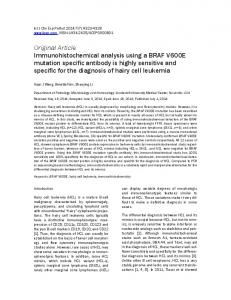 Immunohistochemical analysis using a BRAF V600E mutation specific ...