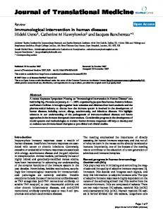 Immunological intervention in human diseases