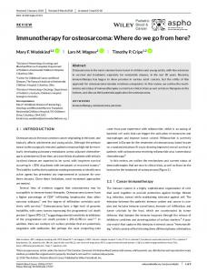 Immunotherapy for osteosarcoma: Where do we go ...