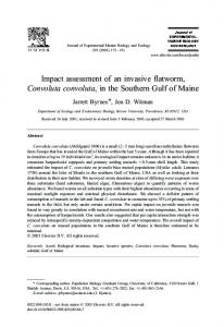 Impact assessment of an invasive flatworm ... - The Byrnes Lab