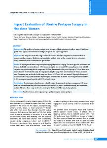 Impact Evaluation of Uterine Prolapse Surgery in Nepalese Women