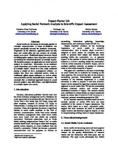Impact Factor 2.0: Applying Social Network Analysis to Scientific ...