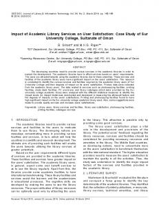 Impact of Academic Library Services on User Satisfaction - (DRDO ...