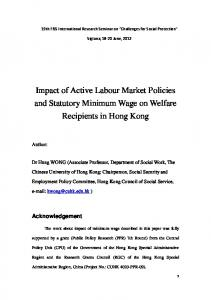 Impact of Active Labour Market Policies and Statutory Minimum Wage