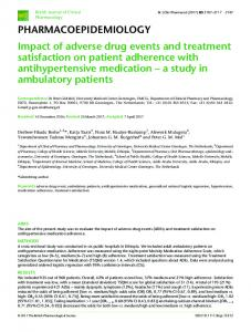 Impact of adverse drug events and treatment