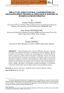 impact of agricultural cooperatives on smallholders technical efficiency