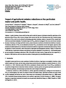 Impact of agricultural emission reductions on fine particulate matter ...