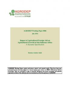 Impact of Agricultural Foreign Aid on Agricultural Growth ... - AGRODEP