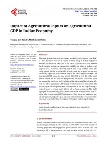 Impact of Agricultural Inputs on Agricultural GDP in Indian Economy