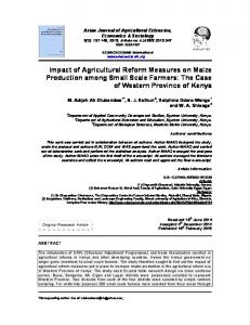 Impact of Agricultural Reform Measures on Maize