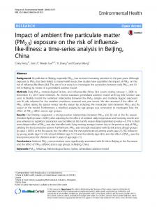 Impact of ambient fine particulate matter (PM2.5) exposure on the risk ...