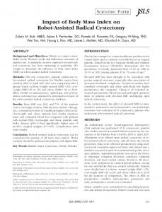Impact of Body Mass Index on Robot-Assisted Radical Cystectomy