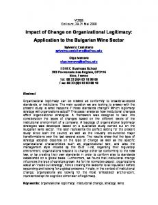 Impact of Change on Organizational Legitimacy - Semantic Scholar