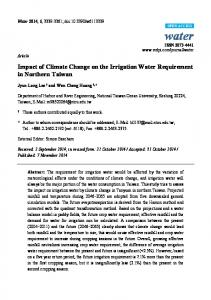 Impact of Climate Change on the Irrigation Water Requirement ... - MDPI