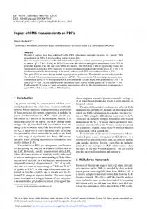 Impact of CMS measurements on PDFs - EPJ Web of Conferences