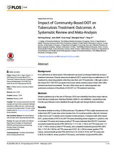 Impact of Community-Based DOT on Tuberculosis Treatment ... - Plos
