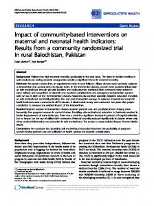 Impact of community-based interventions on maternal and neonatal ...