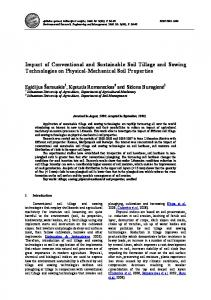 Impact of Conventional and Sustainable Soil Tillage and Sowing ...