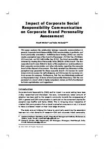 Impact of Corporate Social Responsibility Communication on ...