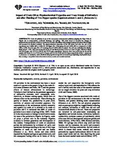 Impact of Crude Oil on Physicochemical Properties and Trace Metals