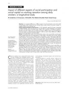 Impact of different aspects of social participation and social ... - NCBI