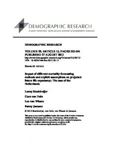 Impact of different mortality forecasting methods and explicit ...