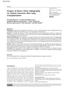 Impact of donor chest radiography on clinical ... - SAGE Journals