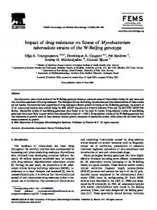 Impact of drug resistance on fitness of Mycobacterium tuberculosis