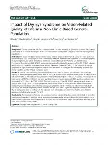 Impact of Dry Eye Syndrome on Vision-Related Quality of Life in a Non ...
