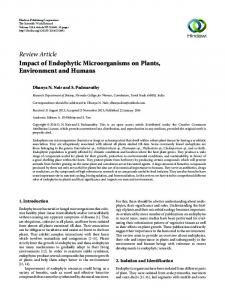 Impact of Endophytic Microorganisms on Plants, Environment and ...