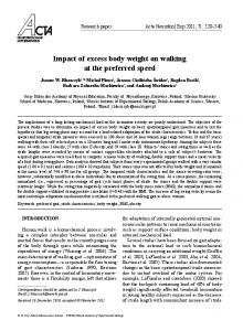 impact of excess body weight on walking at the preferred speed
