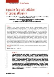 Impact of fatty acid oxidation on cardiac efficiency - Heart and ...