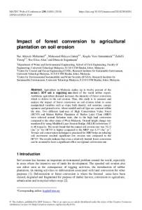 Impact of forest conversion to agricultural plantation on soil erosion