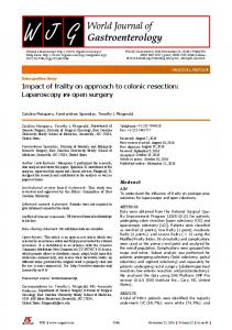 Impact of frailty on approach to colonic resection: Laparoscopy vs ...