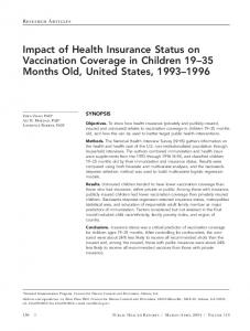 Impact of Health Insurance Status on Vaccination Coverage in ... - NCBI