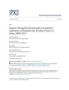 Impact of hospital characteristics on patients' experience of hospital care