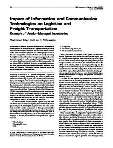 Impact of Information and Communication Technologies on Logistics ...