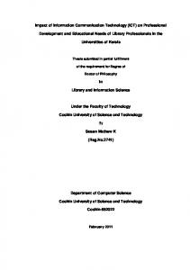 Impact of Information Communication Technology (ICT) on ...