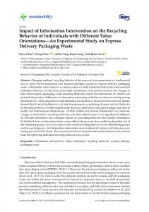 Impact of Information Intervention on the Recycling Behavior of ... - MDPI