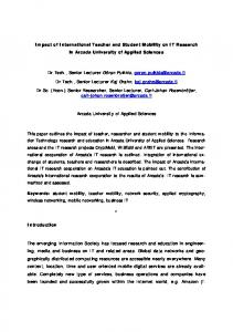 Impact of International Teacher and Student Mobility on ... - UAS Journal