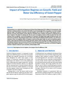 Impact of Irrigation Regimes on Growth, Yield and Water Use