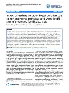 Impact of leachate on groundwater pollution due to ... - BioMedSearch