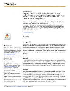 Impact of maternal and neonatal health initiatives on inequity ... - PLOS