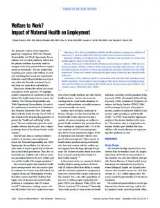 Impact of Maternal Health on Employment - American Journal of ...
