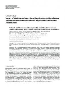 Impact of Moderate to Severe Renal Impairment on Mortality and ...