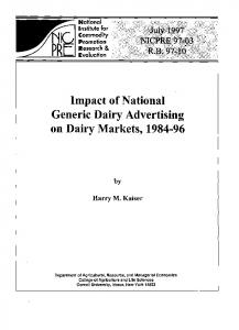 Impact of National Generic Dairy Advertising on ... - AgEcon Search